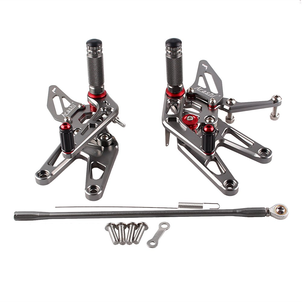 GZYF Grey Rear Set Foot Pegs Adjustable For Yamaha YZF R6 2003-2005 YZF R6S 2006-2009