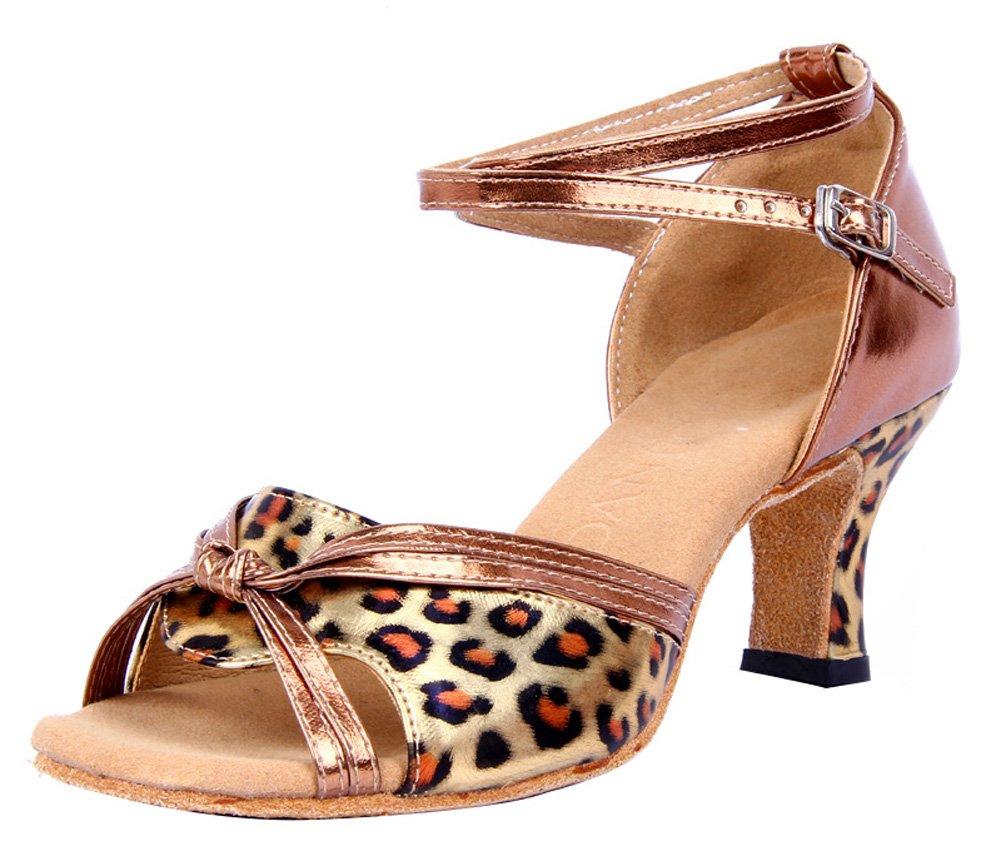 Honeystore Damen's Riemen Knoten-Leopard-Druck Tanzschuhe Silber 38.5 EU XPAgXATb