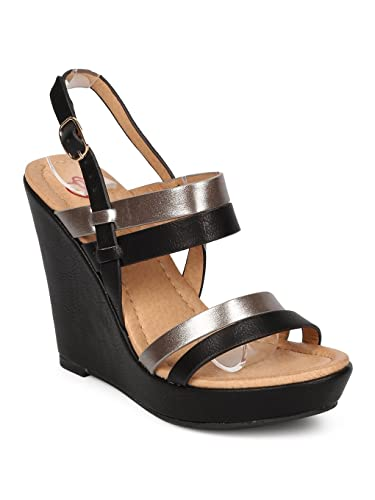 50c13c16ee4 Alrisco Women Leatherette Two Tone Strappy Platform Wedge Sandal HB15 -  Black Leatherette (Size