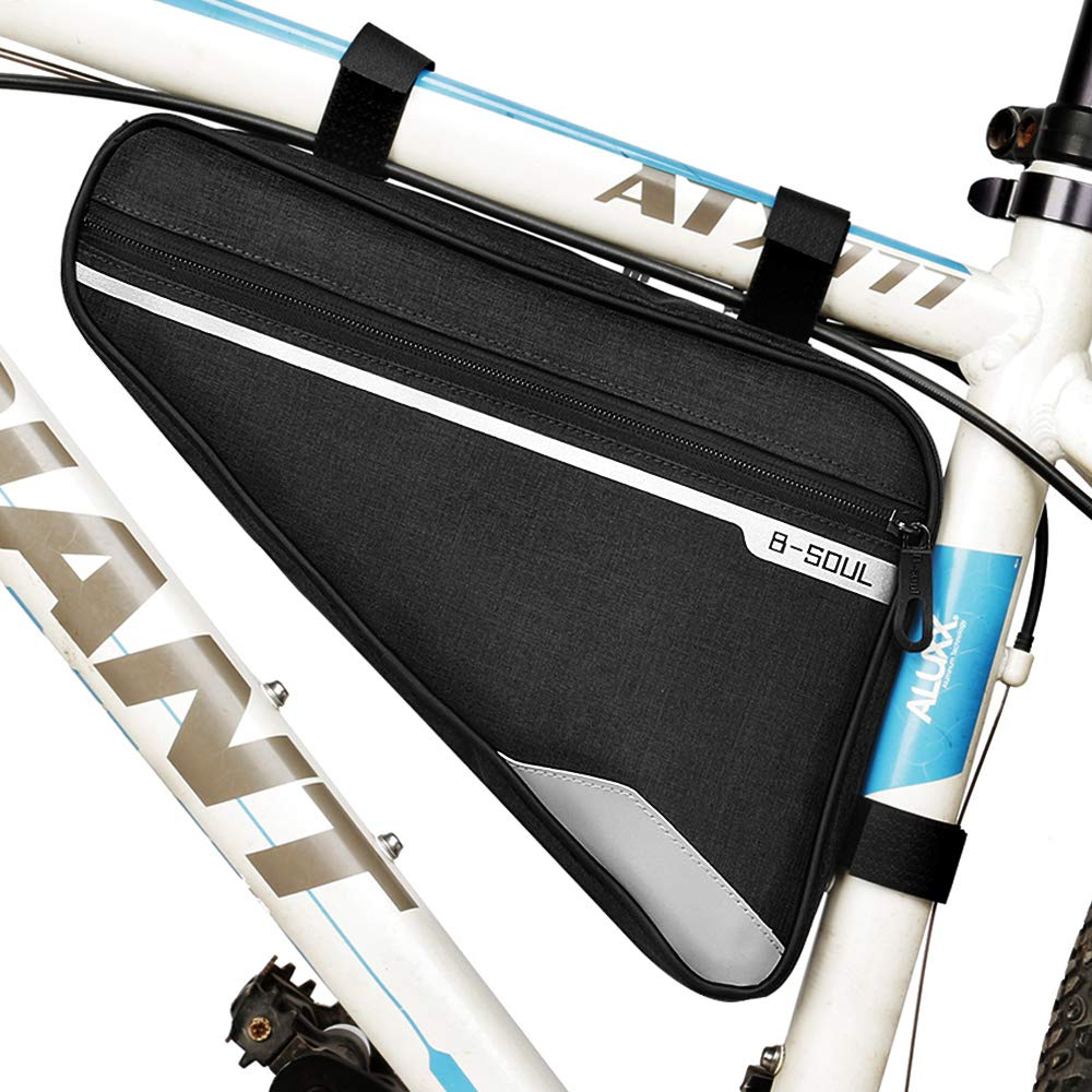 opamoo Bike Bicycle Triangle Frame Bag - Bike Bicycle Storage Bag Pack Bike Accessories Water Resistant Road Mountain Cycling Strap Saddle Pouch Bag