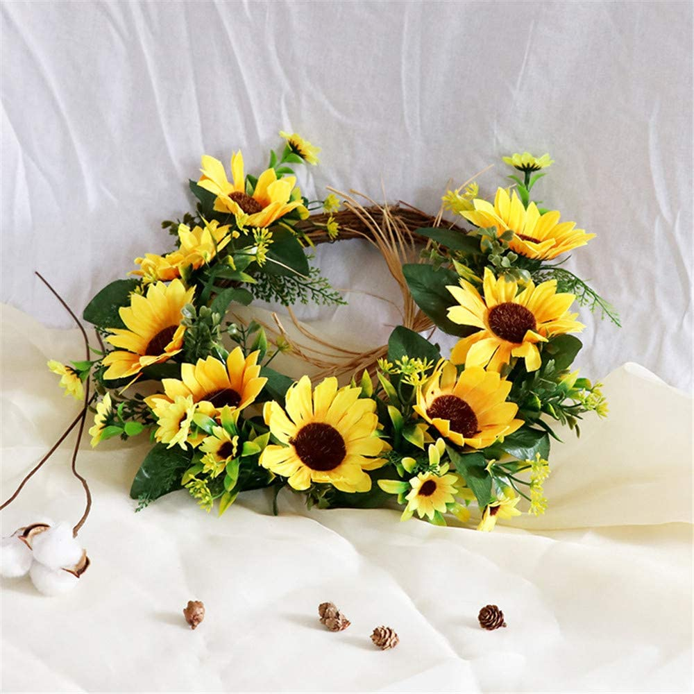 S/_SSOY Artificial Sunflower Wreath 13.7 Inch Summer Fall Wreaths Springtime All Year Around Flower Green Leaves for Outdoor Front Door Indoor Wall Home D/écor Wedding
