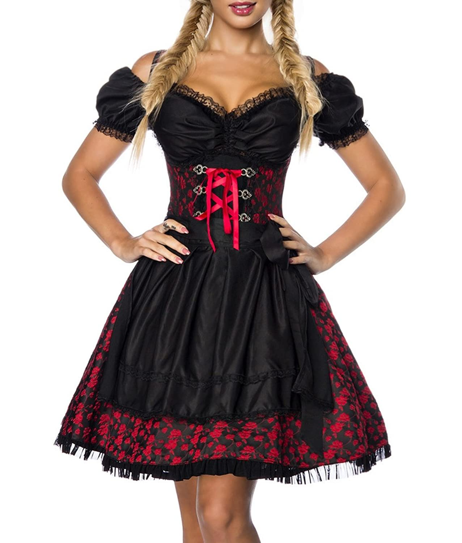 Dirndl Kleid Kostüm mit Bluse und Schürze aus Jacquard Stoff und Spitze Oktoberfest Dirndl rot/schwarz