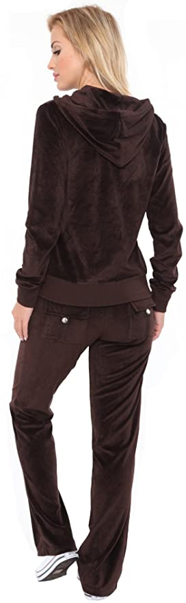 af9e04a911 Ally's New Women Velour Hoodie Track Suit Jacket Sweat Pants Set Sports  Yoga Gym Brown