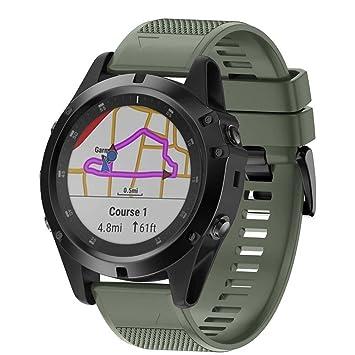 Crewell - Correa de Reloj de Silicona Suave para Garmin Fenix 5X Plus Smartwatch, Color Army Green