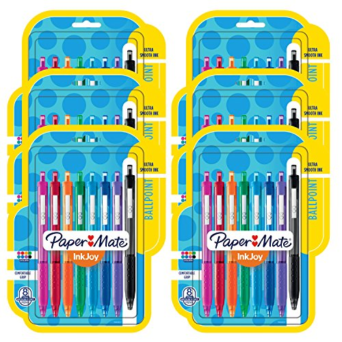 Paper Mate InkJoy 300RT Retractable Ballpoint Pens, Medium Point, Assorted, 6 Packs of 8 (48 Count)