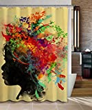 """Fabric Waterproof African Girl Profile Bathroom Shower Curtain In 72""""W x 72""""L With 12 Plastic Hooks"""