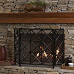 Mandralla 3 Panelled Black Iron Fireplace Screen from GDF Studio