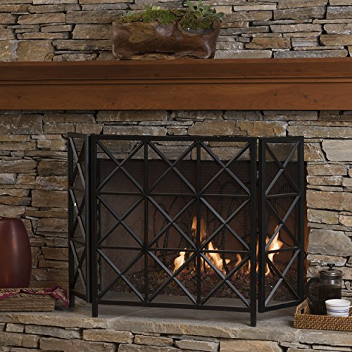 - GDF Studio 301558 Mandralla 3 Panelled Black Iron Fireplace Screen,