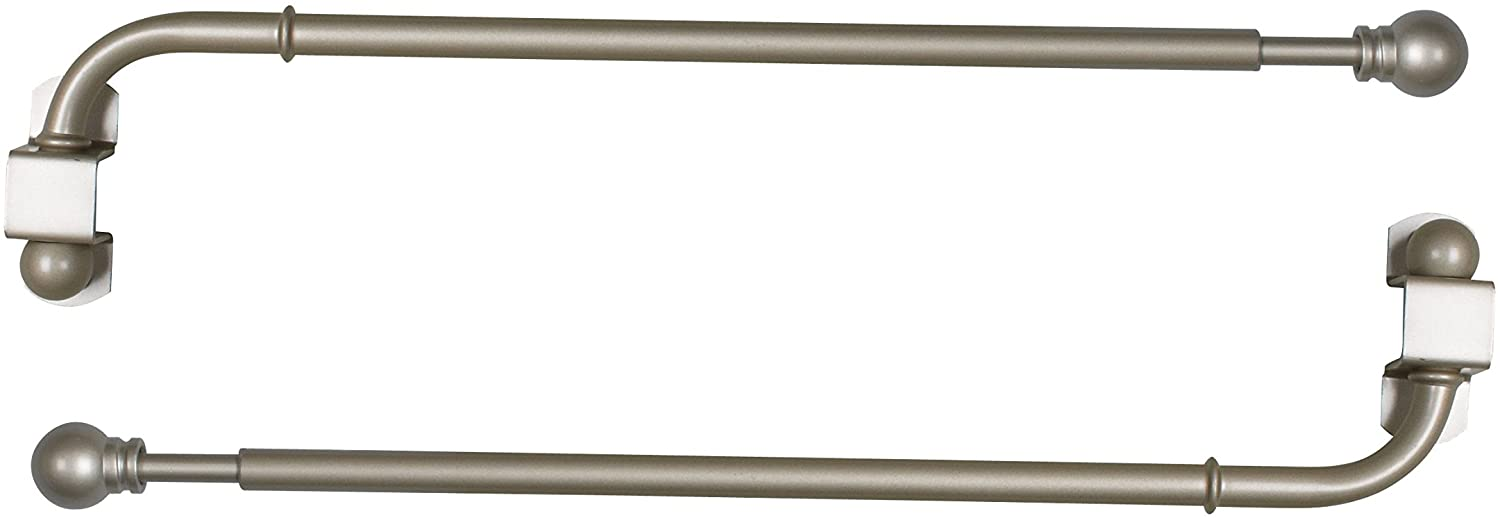 Versailles Home Fashions Pair of Swing Arm with Ball Finial, Pewter, 14 by 24-Inch