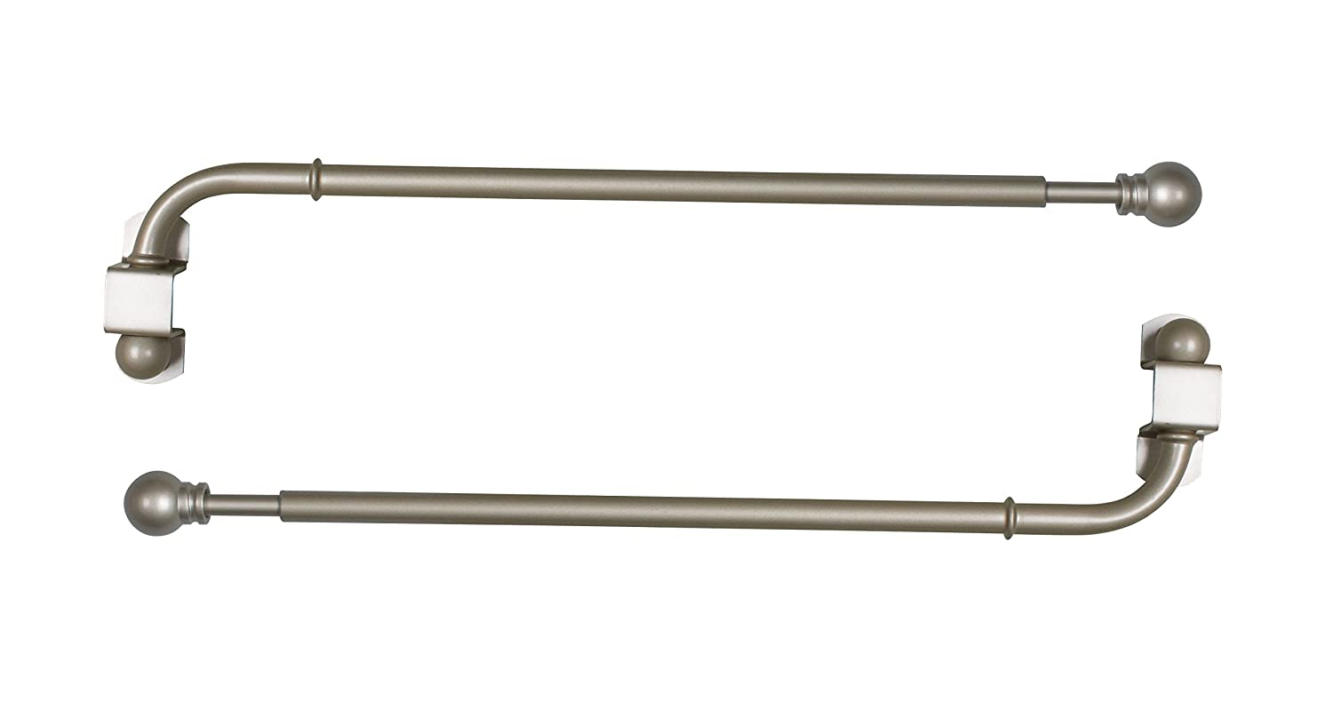 Versailles Home Fashions Pair of Swing Arm with Ball Finial, Pewter, 24 by 38-Inch