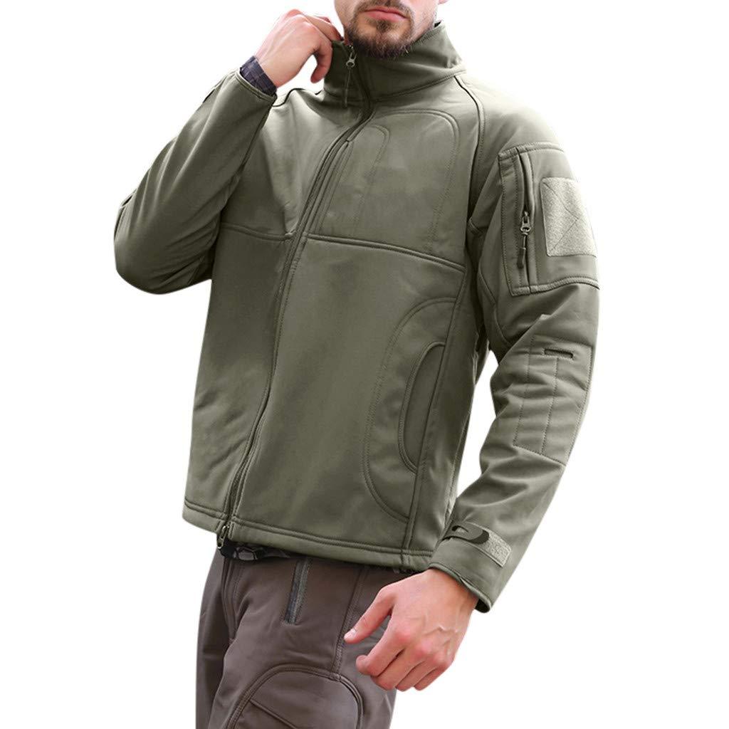 Fitfulvan Men's Winter Coat Softshell Jackets Sports Outdoor Zipper Soft Outwear Tops Army Green