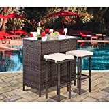 Polar Aurora 3PCS Patio Bar Set with Stools and Glass Top Table Patio Wicker Outdoor Furniture with Removable Cushions for Backyards, Porches, Gardens or Poolside