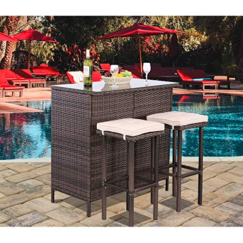 Polar Aurora 3PCS Patio Bar Set with Stools and Glass Top Table Patio Wicker Outdoor Furniture with Removable Cushions for Backyards, Porches, Gardens or Poolside (Patio The Aurora)