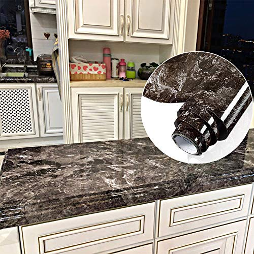 YENHOME Countertop Contact Paper 24 x 196 inch Sandstone Black Granite Marble Contact Paper Decorative Vinyl Film for Kitchen Countertops Peel and Stick Wallpaper for Bathroom Décor