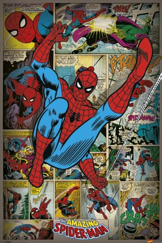 The Amazing Spider-Man - Marvel Comics Poster / Print Retro Comic Style Collage Clear