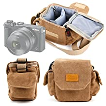 DURAGADGET Tan-Brown Small Sized Canvas Carry Bag for NEW Nikon 1 J5 Compact Camera - With Customizable Interior Compartment & Adjustable Shoulder Strap