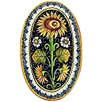 CERAMICHE D'ARTE PARRINI - Italian Ceramic Art Pottery Tray Plate Sunflower Blu Hand Painted Made in ITALY Tuscany
