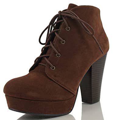 Women's Lace-Up Platform Chunky Stacked Heel Ankle Bootie