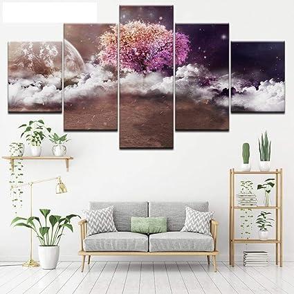 Zzhplanet Mettre En Evidence Peinture Mur Decor Poussiere Arbres Coloriage 5 Panneau Toile Peinture Art Mur Photos Pour Salon Affiches Et Imprimer Peinture Amazon Fr Cuisine Maison