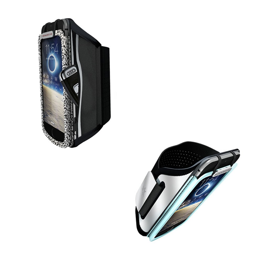 Touchable Sports Armband with Key Holder, Cell Phone Holder Case Arm Band Strap Pouch Mobile Exercise Running Workout For Apple iPhone 6 6S 7 8 X Plus Touch Android Samsung Galaxy and more