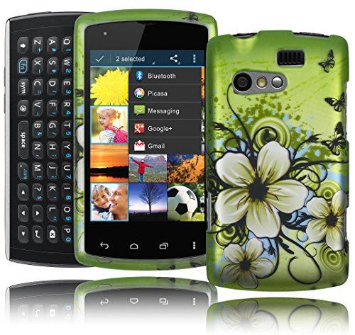 (Bastex 2 Piece Hard Case Cover for Kyocera Rise C5155 Green Hibiscus Hawaiian Flowers with Butterfly Design Highlights - Snap Together Shell)