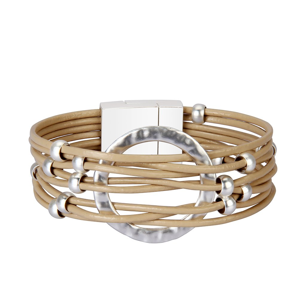 Nydelo Beige Leather Cuff Bracelets Multi Strand Beads Circle Charm Rope Wrap Bangle Bracelet for Women Girls Gift