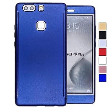 COOVY® Funda para Huawei P9 + Plus 360 Grados, Carcasa Ultrafina y Ligera, con Protector de Pantalla, protección de Cuerpo Completo | Color Azul
