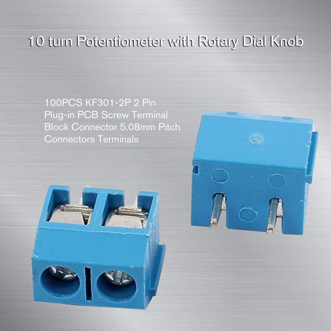 Zinniaya 100 PCS KF301-2P 2 Pin Plug-in PCB Vis Bornier Connecteur 5.08mm Pas Connecteurs Terminaux pr/écision de fabrication