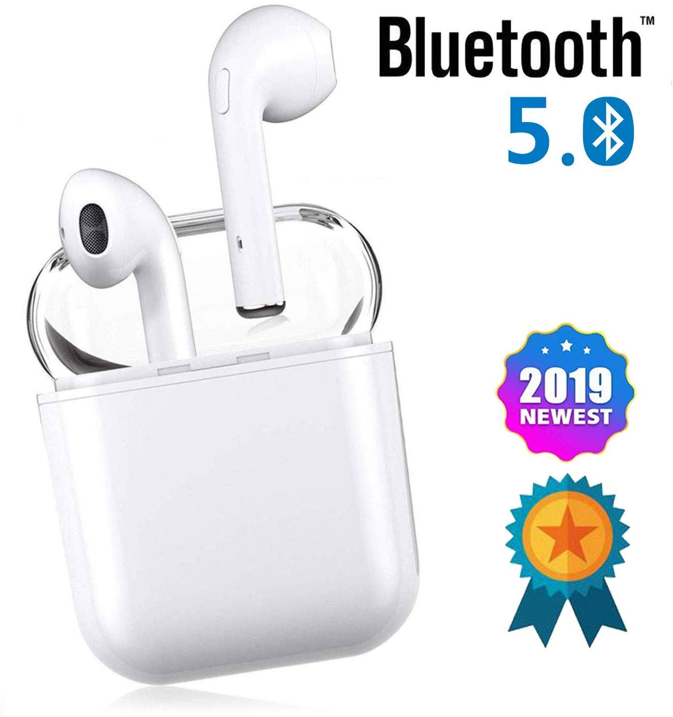 DHADH-1 Bluetooth Headphones 5.0, Wireless Earbuds with Graphene-Enhanced Driver s, 3D Stereo Surround Sound, IPX5 binaural Call, Sports Headphones for iPhone Airpod Airpods Android Apple