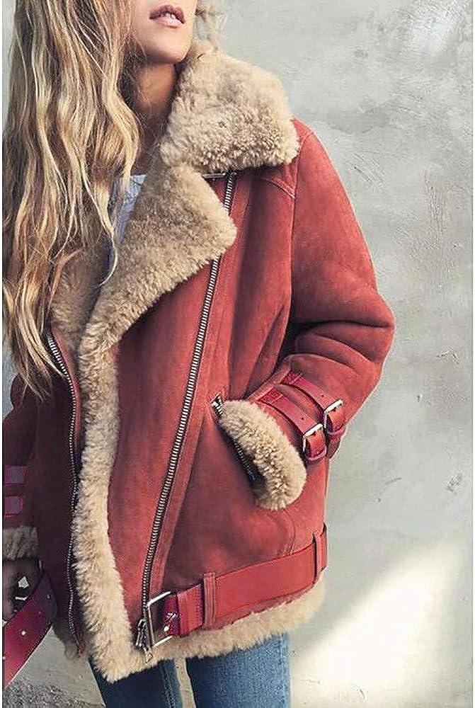 iHENGH Damen Warm bequem Parka Winter Jacke Faux Pelz Fleece Parka Mantel Outwear Revers Biker Motor Aviator