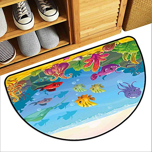 YOFUHOME Aquarium Outdoor Door mat Funny Cartoon Style Underwater Scenery with Various Animals and Treasure Chest Hard and wear Resistant W29 x L17 Multicolor - Pentagram Treasure Chest
