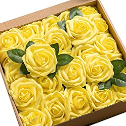 Ling's moment Artificial Flowers Canary Yellow Roses 50pcs Real Looking Fake Roses w/Stem for DIY Wedding Bouquets Centerpieces Arrangements Party Baby Shower Party Home Decorations