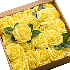 Ling's moment Artificial Flowers 50pcs Real Looking Canary Yellow Fake Roses w/Stem for DIY Wedding Bouquets Centerpieces Bridal Shower Party Home Decorations 12