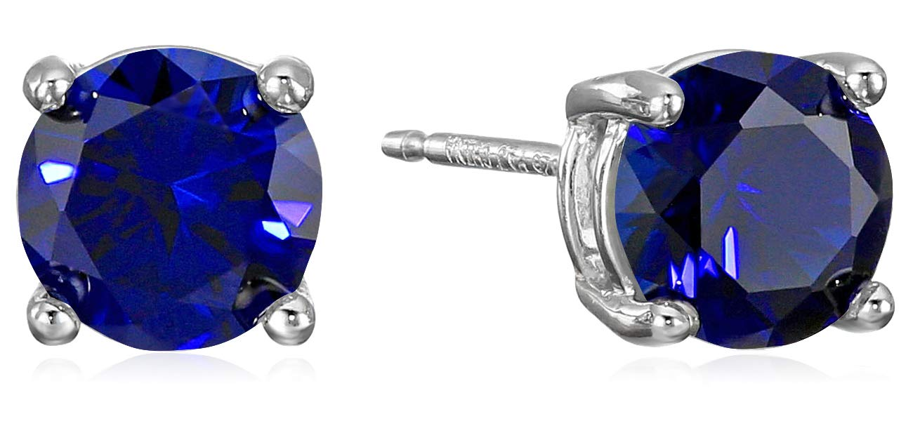 Amazon Essentials Sterling Silver Round Created Blue Sapphire Birthstone Stud Earrings (September) by Amazon Essentials