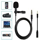 Boostech Lavalier Lapel Microphone-Clip-on Omnidirectional Condenser Microphone for Apple iPhone Android Smartphones PC & Camera Perfect for Recording Youtube,Interview,Studio,Video