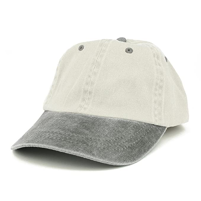 e135748442411 Armycrew Low Profile Blank Two-Tone Washed Pigment Dyed Cotton Dad Cap -  Beige Black