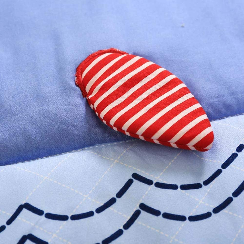USTIDE Ocean Themed Cot Bedding Set Blue Whale Crib Bedding Set Baby Cot Bedding Set 7-piece