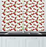 Cheap Ambesonne Kitchen Kitchen Curtains, Cherry Pattern Design Fresh Berry Fruit Summer Garden Macro Digital Print, Window Drapes 2 Panels Set for Kitchen Cafe, 55 W X 39 L Inches, Red Green and White