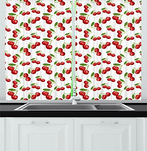 Ambesonne Kitchen Kitchen Curtains, Cherry Pattern Design Fresh Berry Fruit Summer Garden Macro Digital Print, Window Drapes 2 Panels Set for Kitchen Cafe, 55 W X 39 L Inches, Red Green and White