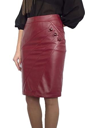 Souvenir-Fashion - Falda - para Mujer Burdeos 46: Amazon.es: Ropa ...