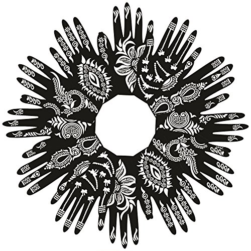 PARTH IMPEX Henna Tattoo Stencils (Pack of 12) Self Adhesive Beautiful Body Paint Art Designs Temporary Mehndi Drawing Hand Template (Designs Tattoos Henna)