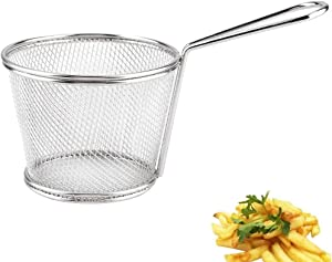 Deep Fry Basket,Mini Stainless Steel Chips Deep Fry Baskets Food Presentation Strainer Potato Cooking Tool Wire Chip Fryer Basket for French Fries Onion Rings Prawns