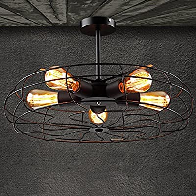 5 Light Fan Chandelier, Motent Industrial Retro Wrought Iron Cage Semi Flush Mount Barn Ceiling Lamp Vintage Black Painted 5 Head Fan Shape Pendant Light Fixture For Restaurant Salon Bakery - E27 Cap