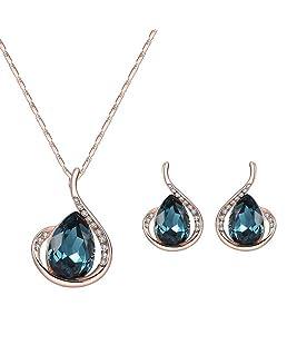 Hacoly Ladies Crystal Water Drops Diamond Sposa Collana Orecchini Set Catena di Lega di Compleanno di San Valentino Festa Nuziale Gioielli per Donna Ragazza