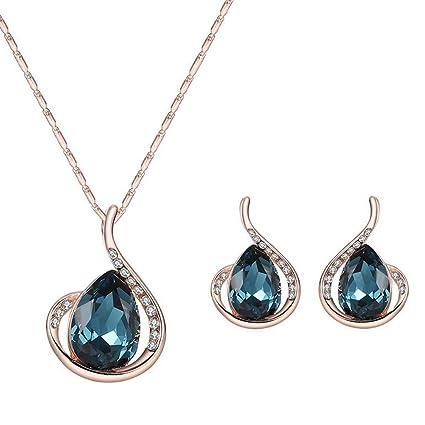 a53da2707cfa Cosanter 1Set Mezcla Pendientes y Collares de Imitación de Cristal de Diseño  de Gotitas de Agua