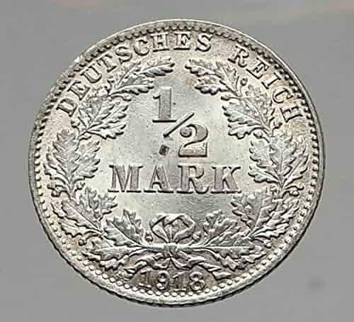 1918 WILHELM II of GERMANY 1/2 Mark Antique German AR Coin Aquila i64603