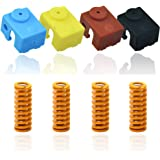 3D Printer 4pcs Silicone Sock for E3D V6 Extruder Hotend Heater Block Cover 4 colors+4pcs Compression Mould Die Springs Heated Bed Light Load 0.31 in OD 0.98 in Length