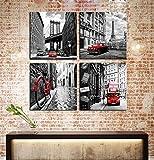 City Wall Art - Black White Cityscape Canvas Print Wall Art - Brooklyn Bridge - Paris Eiffel Tower - Italy Shabby Bicycle Bike - London Double Decker Buss Classic Red Car Home Office Decor