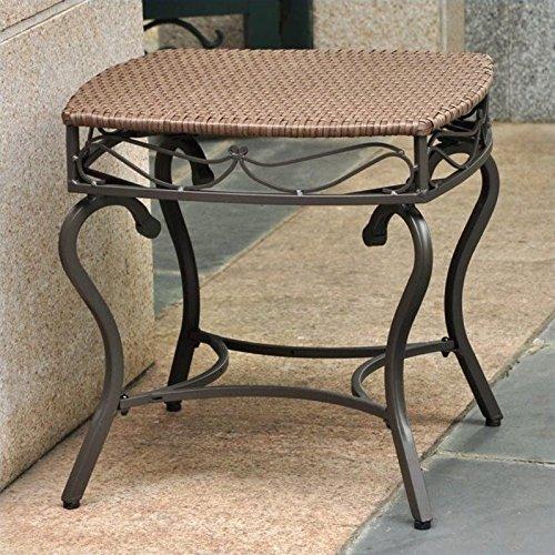- International Caravan Wicker Resin/Steel Patio Side Table in Antique Brown Finish