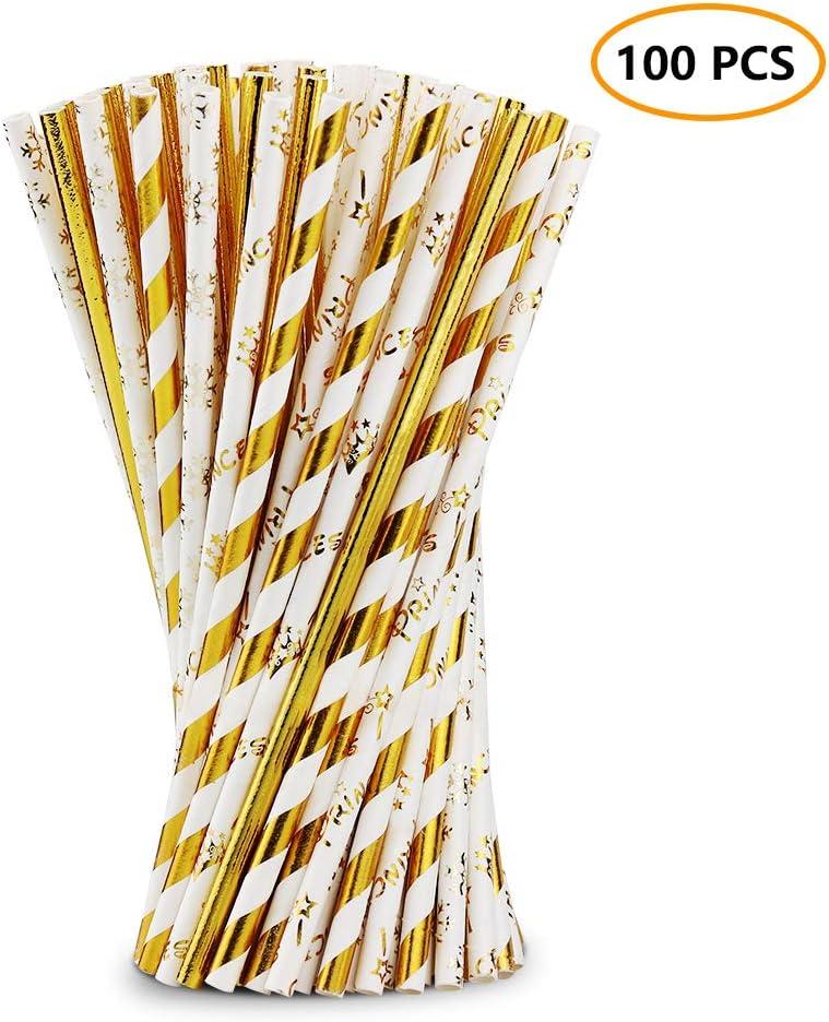 Nicedeal Pajitas de Papel Biodegradable, Golden, 19.6cm x 0.6cm